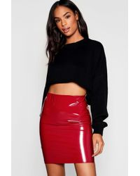 06cd374b0f Lyst - TOPSHOP Cracked Vinyl Zip Mini Skirt