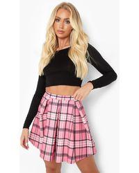 Boohoo Pink Flannel Pleated Tennis Skirt