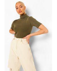 Boohoo Short Sleeved Roll Neck Top - Green
