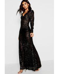 2c9d80e3c8412 Boohoo Glitter Thigh Split Maxi Dress in Black - Lyst