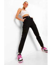 Boohoo Denim Twill Pocket Elasticated Cuff Joggers - Black