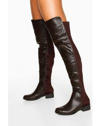 Boohoo Croc Over The Knee High Boots - Brown