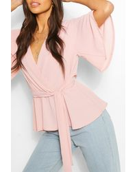 Boohoo Frill Sleeve Blouse - Pink