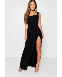 Boohoo Petite Square Neck Split Maxi Dress - Black