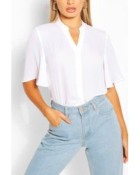 Boohoo Angel Sleeve Button Down Woven Top - White