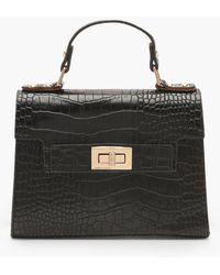 Boohoo Faux Croc Small Tote Bag - Black