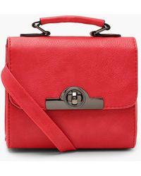 Boohoo Lock & Handle Mini Grab Bag - Red