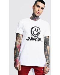 Boohoo T-shirt imprimé Savage devant - Blanc