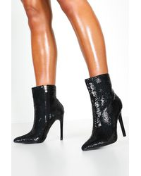 Boohoo Womens Sequin Pointed Shoe Boots - Black - 5