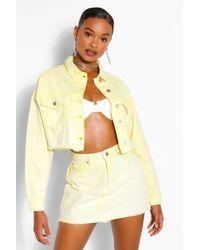 Boohoo Acid Wash Denim Mini Skirt - Yellow