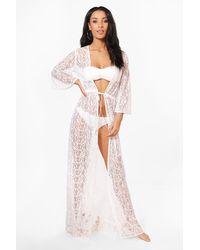Boohoo Lace Maxi Beach Kimono - White