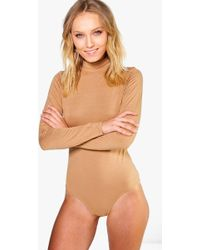 Boohoo - Basic Turtle Neck Long Sleeve Bodysuit - Lyst