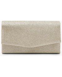 Boohoo Glitter Envelope Clutch Bag And Chain - Metallic