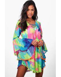 Boohoo Tropical Pom Pom Beach Dress - Multicolour