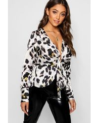 Boohoo Leopard Satin Drape Tie Front Top - White