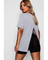 Boohoo Camiseta De Jersey Descubierta Por Detrás Con Abertura Plus - Gris