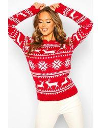 Boohoo Womens Pullover mit weihnachtlichem Norwegermuster - Rot