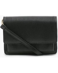 Boohoo Ribbed Soft Pu Cross Body Bag - Black
