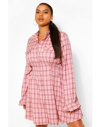 Boohoo Plus Checked Cinched Waist Skater Shirt Dress - Rose