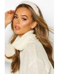 Boohoo Womens Velvet Plaited Headband - White