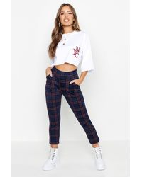 Boohoo Petite Plaid Flannel Tapered Trousers - Blue
