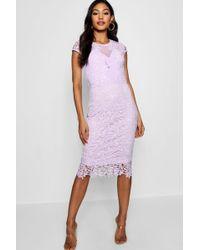 Boohoo - Lace Mesh Deatil Cap Sleeve Midi Dress - Lyst