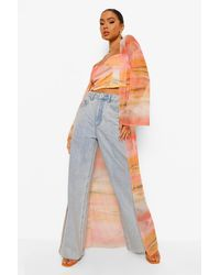 Boohoo Printed Long Mesh Kimono - Orange