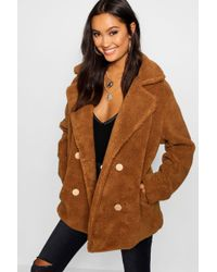 Boohoo - Double Breasted Teddy Faux Fur Coat - Lyst