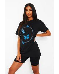 Boohoo Butterfly Circle Slogon T-shirt - Black
