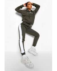 Boohoo Contrast Panel Tracksuit With Woman Embroidery - Green