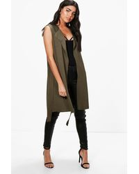Boohoo Sleeveless Belted Duster - Green