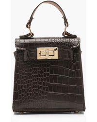 627195bcbbb Lyst - ALDO Faux Snake Tote Bag With Lock Detail in Black