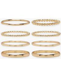 Boohoo - Plus Gold 8 Pack Basic Ring Set - Lyst