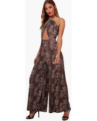 Boohoo High Neck Leopard Print Jumpsuit - Brown