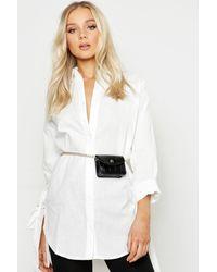 Boohoo Womens Mini Croc Chain Belt Bag - Black