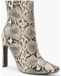 Boohoo Snake Flat Heel Shoe Boots - Natural