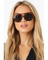 Boohoo Oversized Tort Tinted Lens Sunglasses - Green