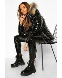 Boohoo High Shine Faux Fur Trim Puffer - Black