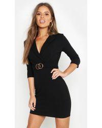 6c4167bbf8bc1 Lyst - Boohoo Petite Asymmetric Blazer Dress in Black