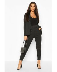 Boohoo Pinstripe Tailored Blazer & Trousers Two-piece Suit - Black