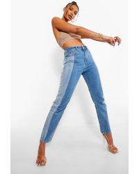 Boohoo High Waist Contrast Denim Mom Jeans - Blue