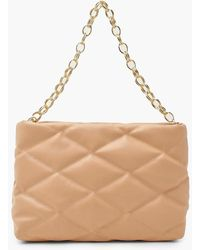 Boohoo Oversized Quilted Clutch And Chunky Chain - Natural