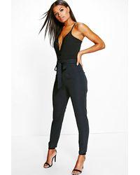 Boohoo Petite Tie Waist Woven Satin Slimline Pants - Black
