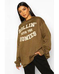 Boohoo Rolling With The Homies Slogan Oversized Sweatshirt - Green