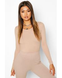 Boohoo Womens Scoop Neck Knitted One Piece - Natural