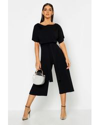 Boohoo Slash Neck Tie Waist Culotte Jumpsuit - Nero