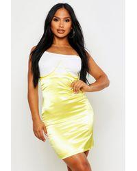 Boohoo Womens Satin Bustier Underwire Midi Skirt - Yellow