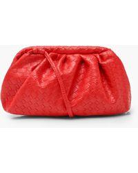 Boohoo Slouchy Mini Weave Clutch Bag - Red