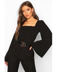 Boohoo Womens Bluse mit weiten Ärmeln und Karree-Ausschnitt - Schwarz