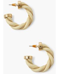 Boohoo Twist Chain Fabric Hoops - Blanco